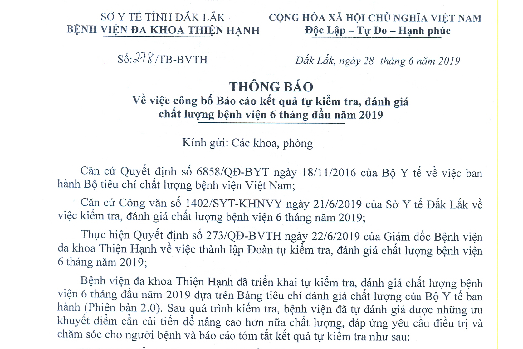 Bệnh Viện Thiện Hạnh Công Bố Báo Cáo Kết Quả Tự Kiểm Tra, đánh Giá Chất Lượng Bệnh Viện 6 Tháng đầu Năm 2019