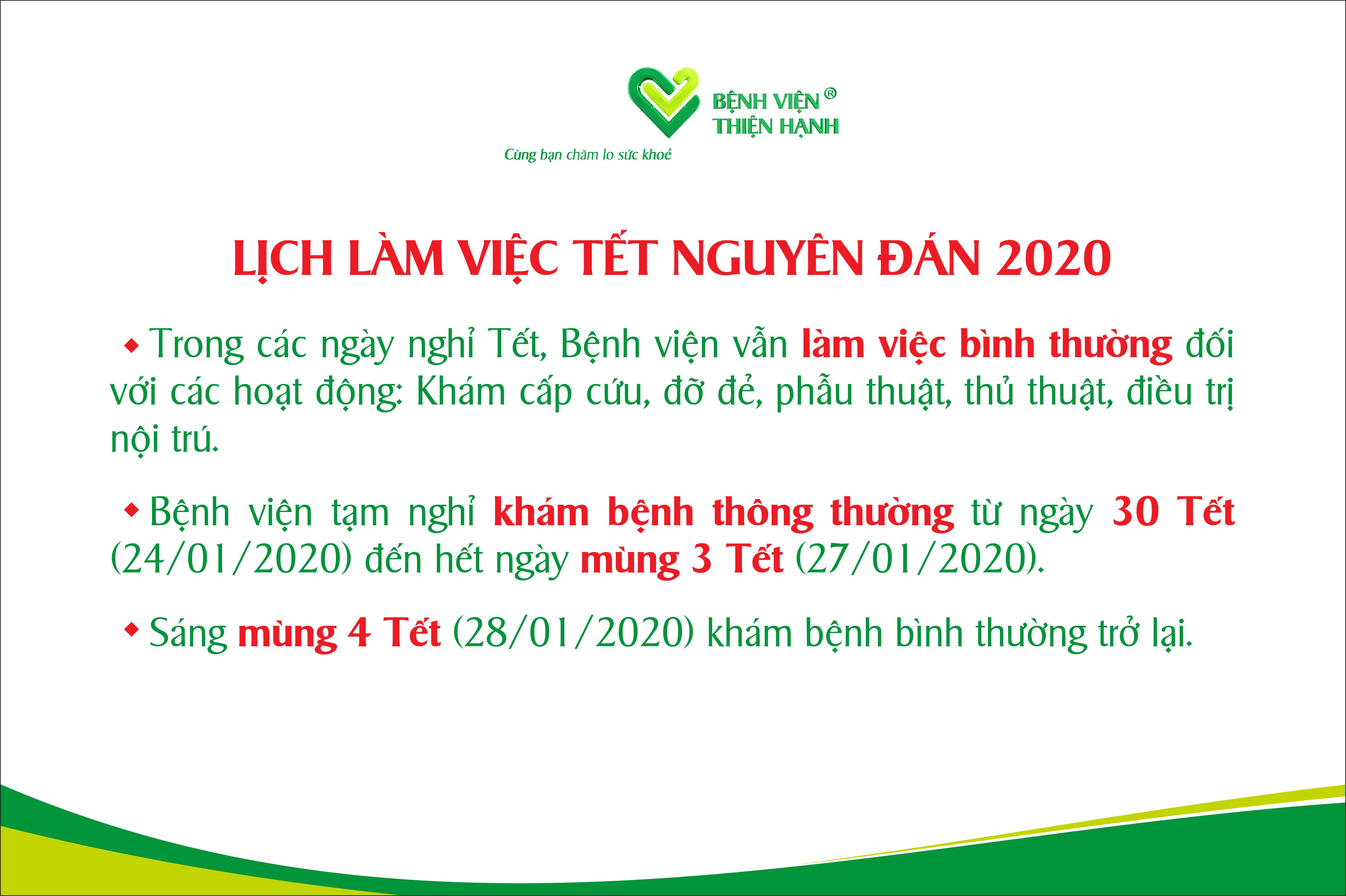 Bệnh Viện Thiện Hạnh Thông Báo Lịch Làm Việc Tết Nguyên đán 2020