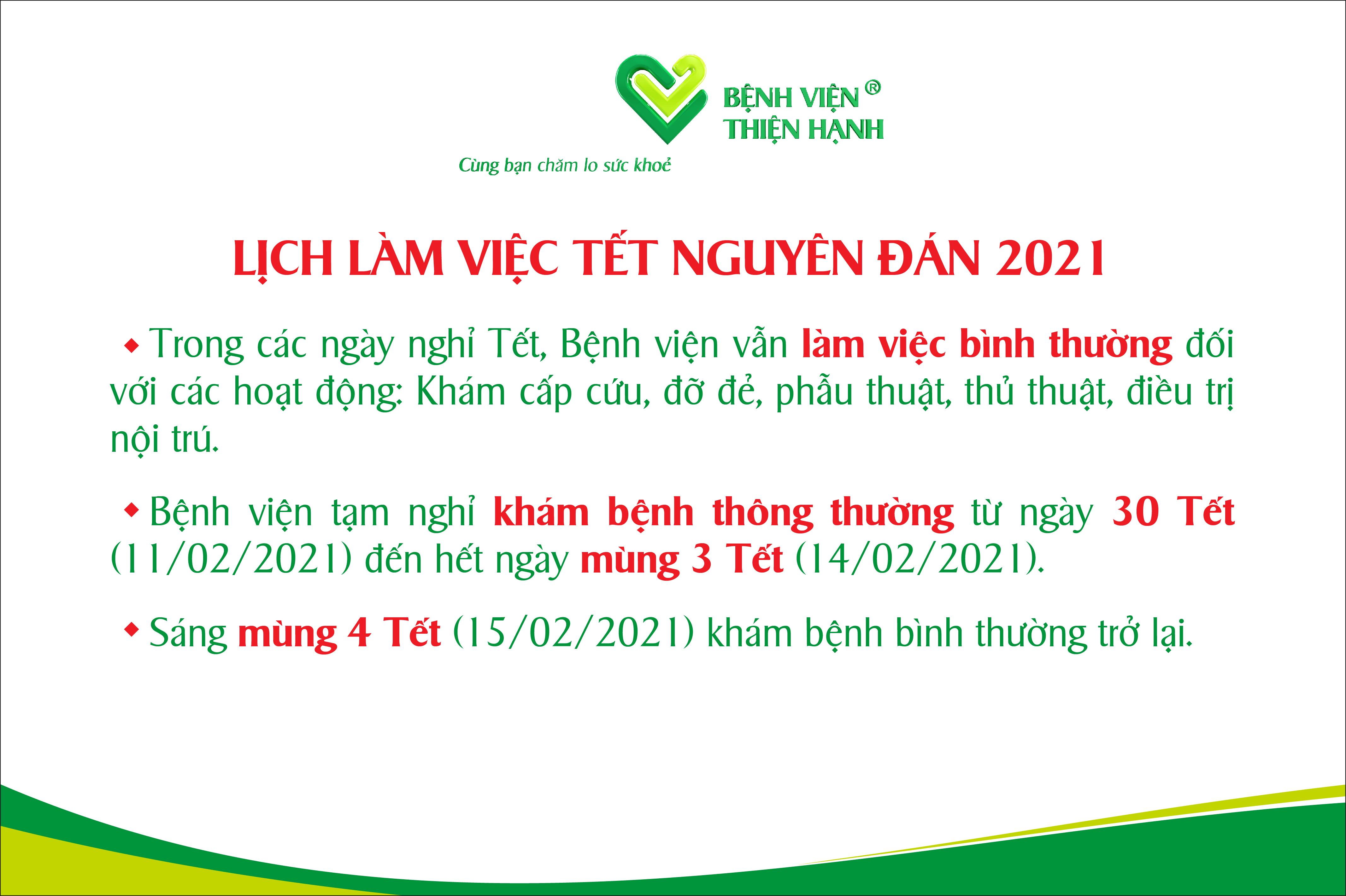 Bệnh Viện Thiện Hạnh Thông Báo Lịch Làm Việc Tết Nguyên đán 2021